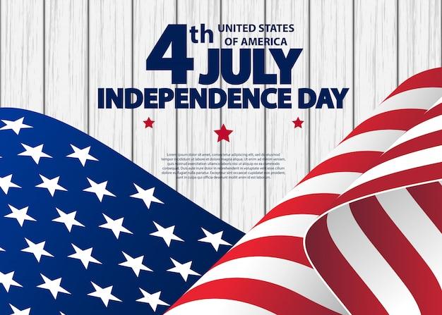 Glückliches juli 4. usa-unabhängigkeitstaggrußkarte mit dem wellenartig bewegen der amerikanischen staatsflagge. Premium Vektoren
