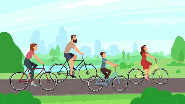 Glückliches junges familienreiten auf fahrrädern am park Premium Vektoren