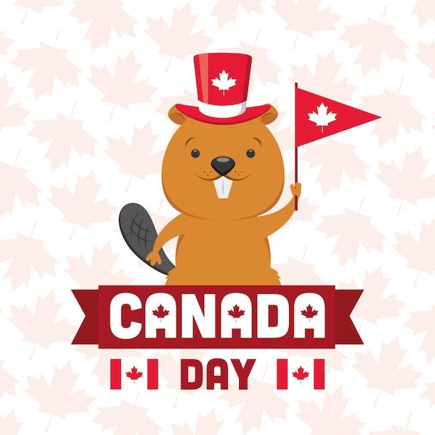 Glückliches kanada-tageskonzept Kostenlosen Vektoren