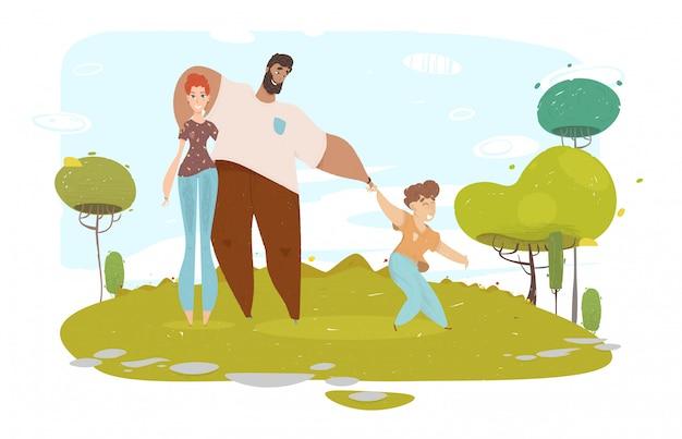 Glückliches karikatur-handwerks-familien-porträt auf natur Premium Vektoren