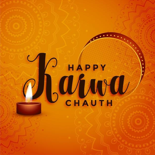 Glückliches karwa chauth festival, das dekorativen hintergrund grüßt Kostenlosen Vektoren