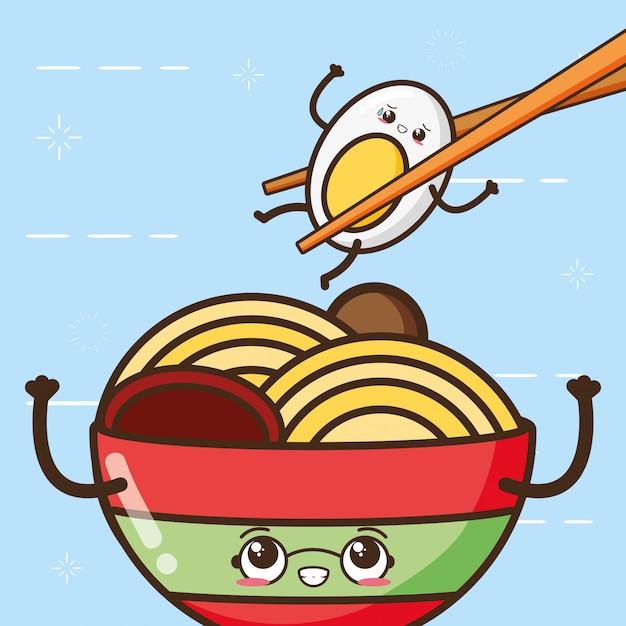 Glückliches kawaii ei und spaguetti, lebensmitteldesign, illustration Kostenlosen Vektoren