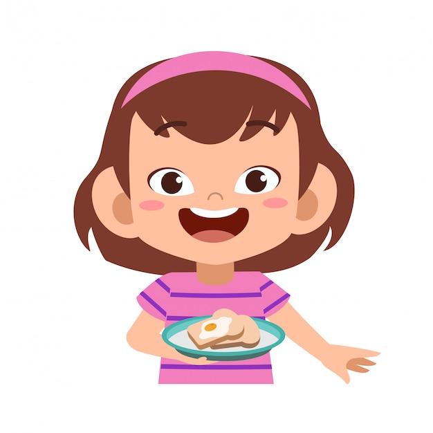 Glückliches kind essen Premium Vektoren