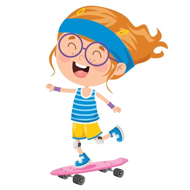 Glückliches kleines kind, das draußen skateboard fährt Premium Vektoren