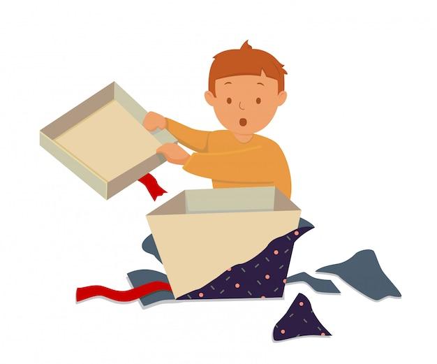 Glückliches kleinkind öffnen seine geschenkbox Premium Vektoren
