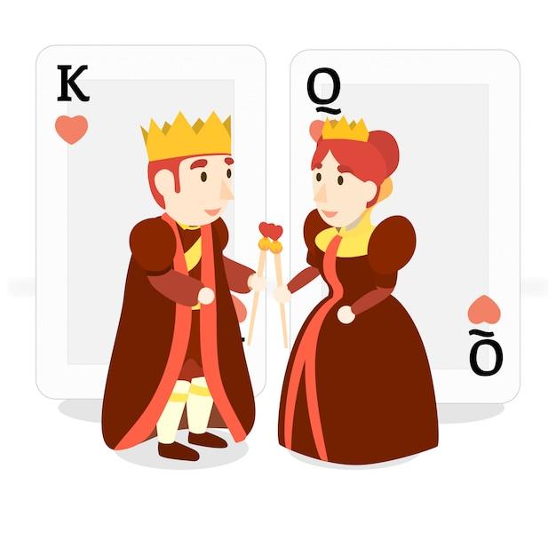 Glückliches königskostüm der königin des herzens und königin rotes goldherz lieben heraus plattform treffen valentinsgruß Premium Vektoren