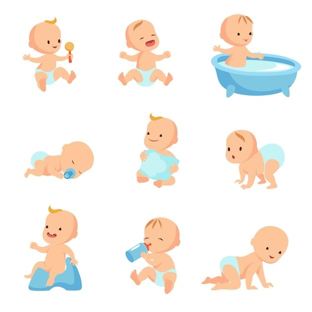 Glückliches lächelndes baby. netter karikaturkleinkindvektorsatz Premium Vektoren
