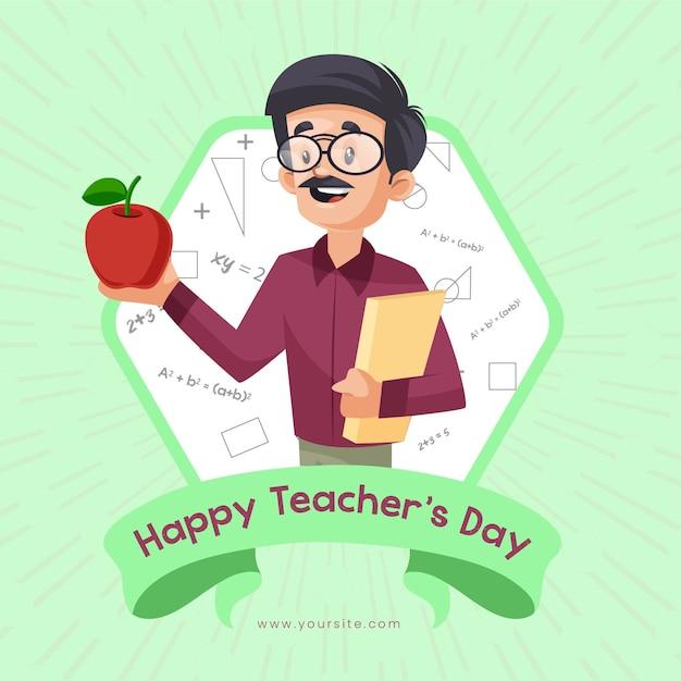 Glückliches lehrertag-banner-design mit lehrer, der apfel in der hand zeigt Premium Vektoren