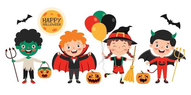 Glückliches lustiges kind, das halloween feiert Premium Vektoren