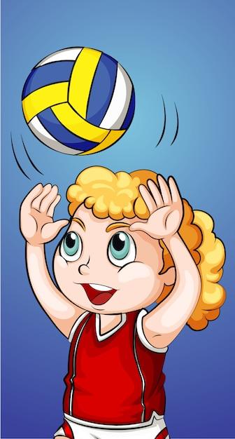 Glückliches mädchen, das volleyball spielt Kostenlosen Vektoren