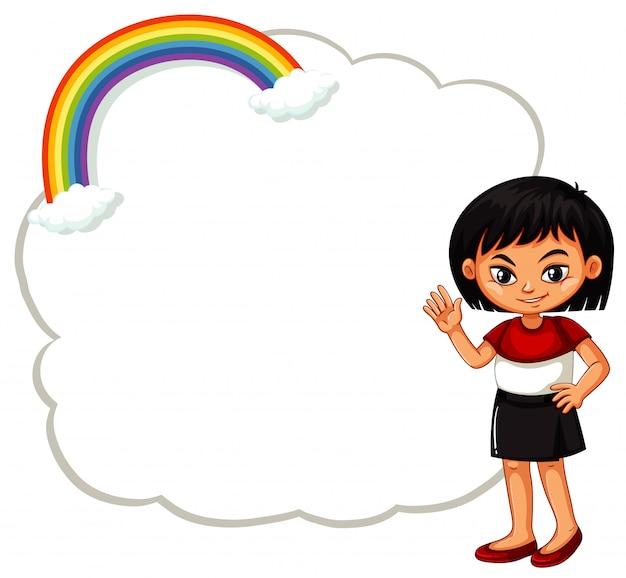 Glückliches mädchen mit wolkenzeichen Kostenlosen Vektoren