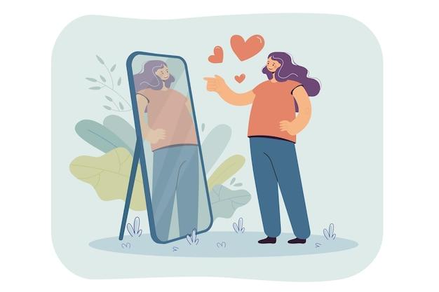 Glückliches narzisstisches mädchen, das sich im spiegel betrachtet und ihr schönes spiegelbild bewundert. karikaturillustration Kostenlosen Vektoren