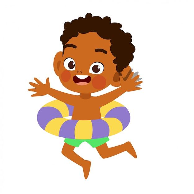 Glückliches nettes kind mit schwimmenringvektor Premium Vektoren