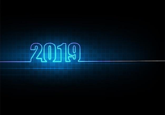 Glückliches neues jahr 2019 mit abstraktem technologiehintergrund und futuristischem glühendem neonlicht Premium Vektoren