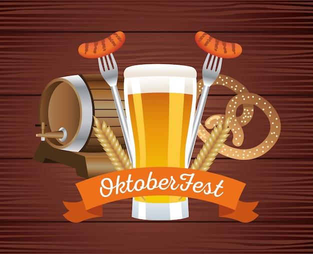 Glückliches oktoberfestfest mit bieren und essen im hölzernen hintergrundvektorillustrationsdesign Premium Vektoren