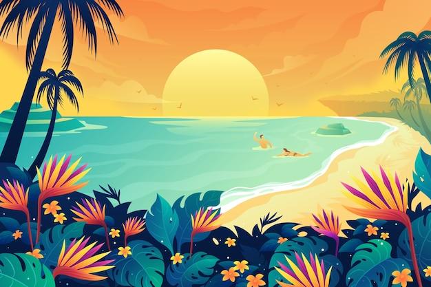 Glückliches paar, das im sommerwasser schwimmt Premium Vektoren