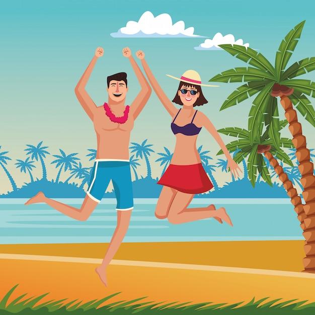 Glückliches paar in den sommerkarikaturen Kostenlosen Vektoren