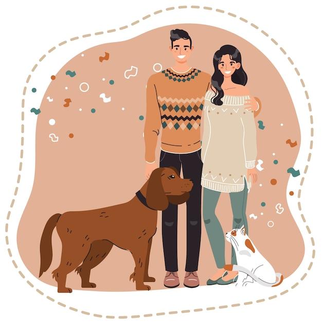 Glückliches paar mit haustieren, besitzern des hundes und der katze, vektorillustration Premium Vektoren