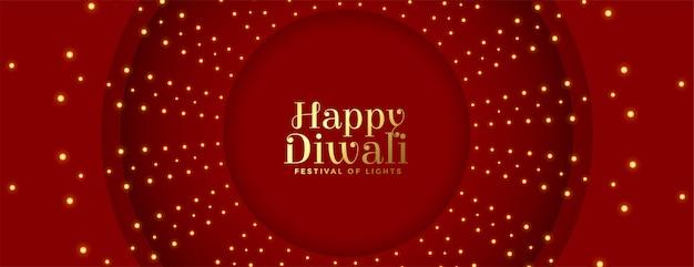 Glückliches rotes diwali-banner mit lichtdekoration Kostenlosen Vektoren