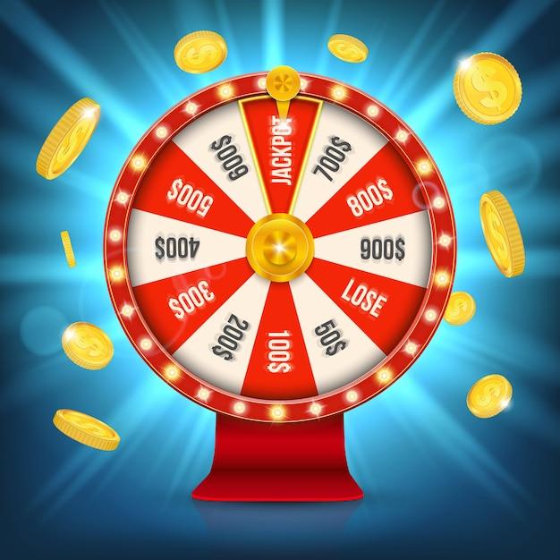 Glückliches roulette-glücksspiel-jackpot-spinnrad. Premium Vektoren