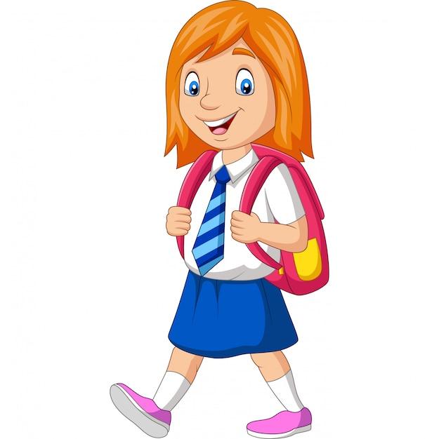 Glückliches schulmädchen der karikatur in tragendem rucksack der uniform Premium Vektoren