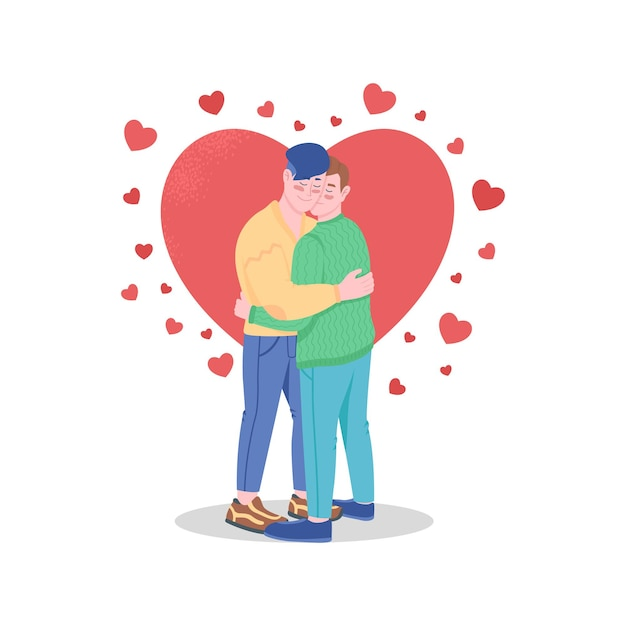 Glückliches schwules paar in der liebe färbt detaillierte zeichen. valentinstagfeier. Premium Vektoren