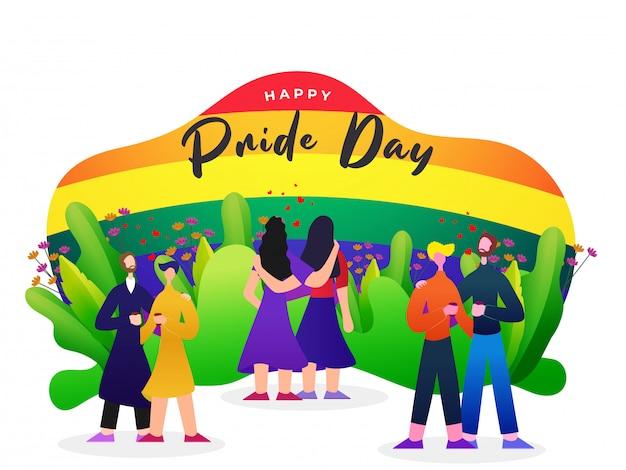 Glückliches stolz-tageskonzept mit lesbischen und homosexuellen paaren und regenbogenfarbhintergrund, symbol der freiheit. Premium Vektoren