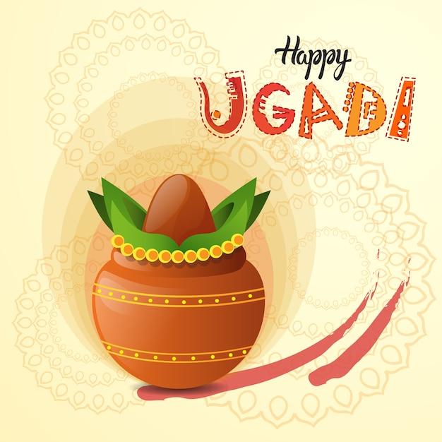 Glückliches ugadi und gudi padwa hindu-neues jahr-gruß-karten-feiertags-topf mit kokosnuss Premium Vektoren