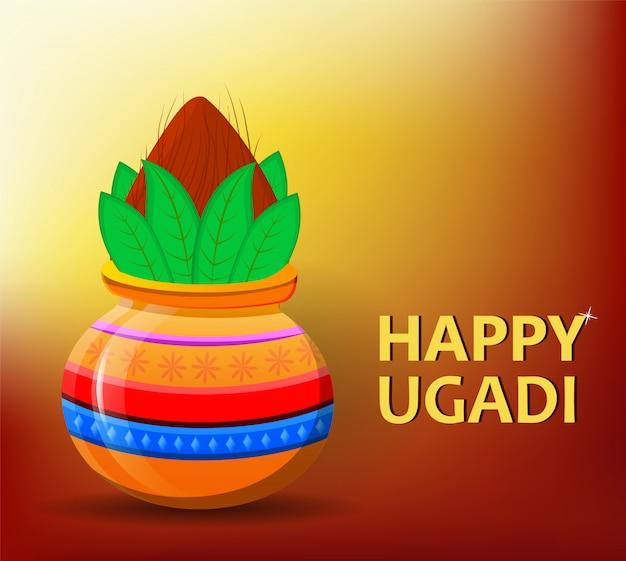 Glückliches ugadi und gudi padwa hindu new year Premium Vektoren