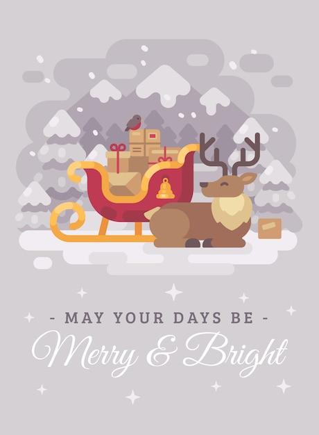 Glückliches weihnachtsmann-ren nahe einem pferdeschlitten mit geschenken. weihnachtsgrußkarte flach illus Premium Vektoren