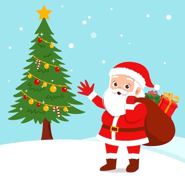 Glückliches weihnachtsmann-weihnachtsgeschenk Premium Vektoren