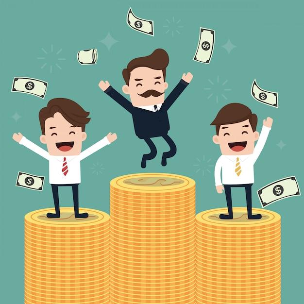 Glückliches werfendes geld des geschäftsteams oben. Premium Vektoren
