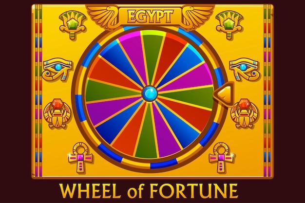 Glücksrad im ägyptischen stil für ui-spiel und casino. Premium Vektoren