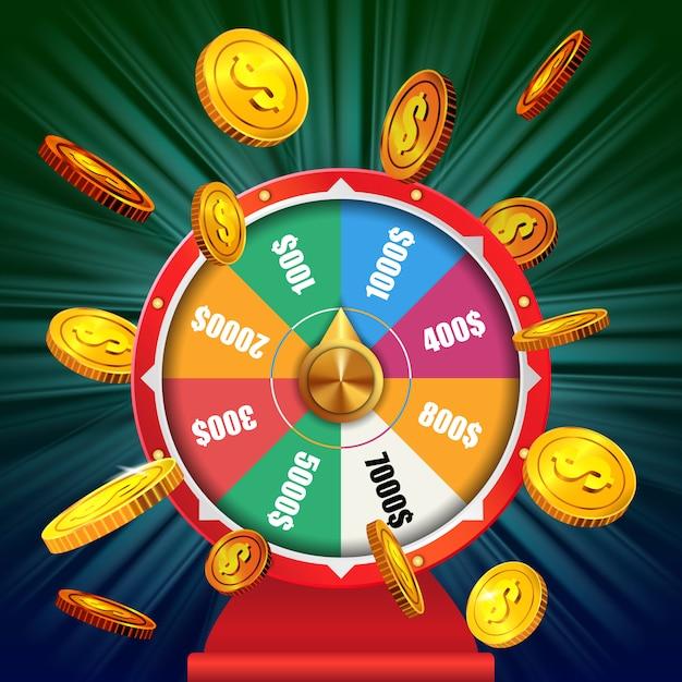Glücksrad mit fliegenden goldenen münzen. casino-business-werbung Kostenlosen Vektoren