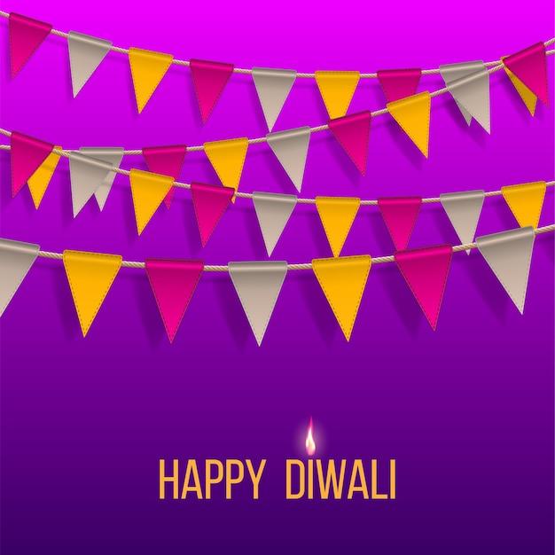 Glückwunschbanner mit hängenden flaggen auf happy diwali holiday für das light festival of india. Premium Vektoren