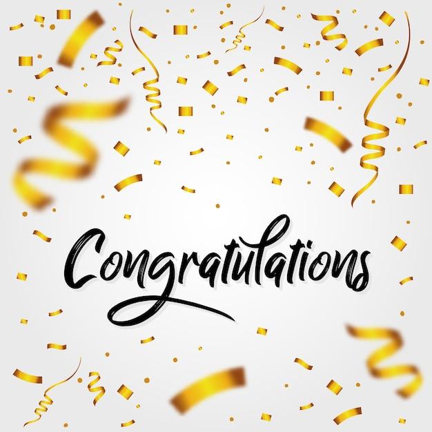 Glückwunschmeldung mit konfetti Premium Vektoren