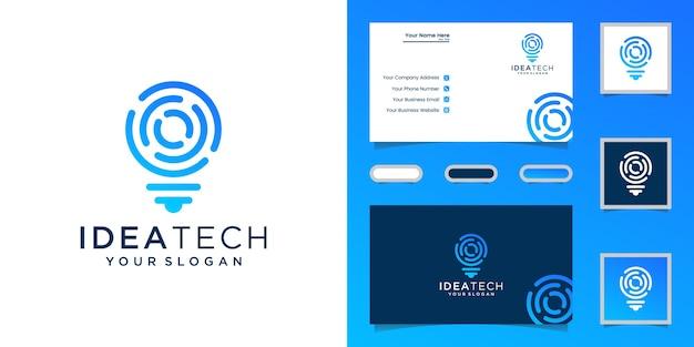 Glühbirne digital logo technologie idee und visitenkarte Premium Vektoren