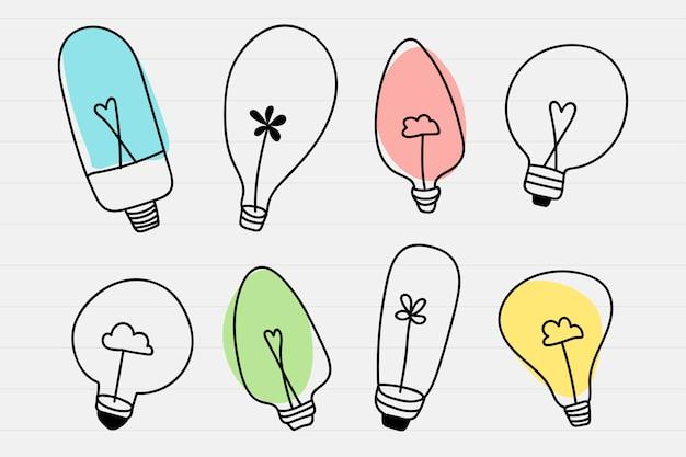 Glühbirne doodle set Kostenlosen Vektoren