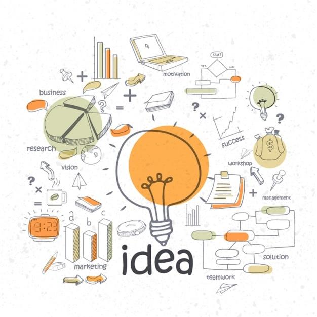 Glühbirne infografik mit business-elemente Premium Vektoren