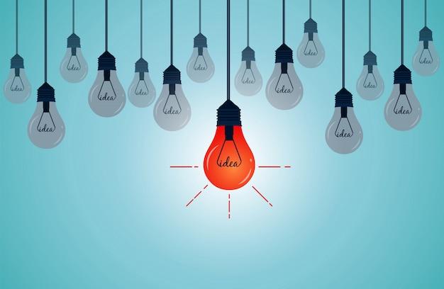 Glühbirne mit hängenden und bis zum boden leuchtenden ist hervorragend Premium Vektoren