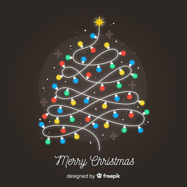 Glühbirne weihnachtsbaum hintergrund Kostenlosen Vektoren
