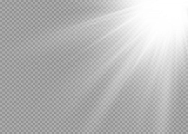 Glühen sie isoliertes weißes transparentes lichteffektset, linseneffekt, explosion, glitzer, linie, sonnenblitz, funken und sterne. abstraktes design von spezialeffektelementen. strahl mit blitz strahlen Premium Vektoren