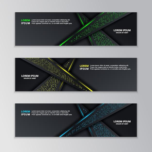 Glühende dunkle techno-fahnen-schablone Premium Vektoren