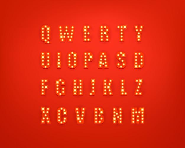 Glühende festliche briefsammlung Premium Vektoren
