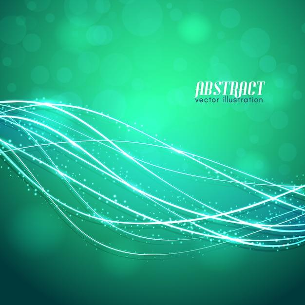 Glühende gekrümmte fasern mit funkeln und verschwommenen lichtern auf grünem hintergrund Kostenlosen Vektoren