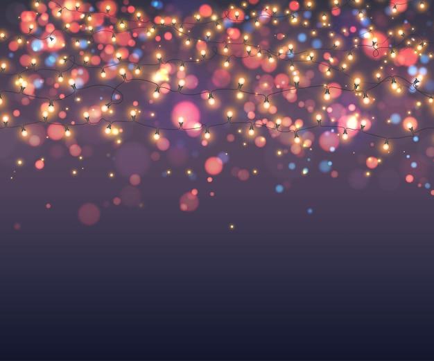Glühende girlanden des glühlampehintergrundes Premium Vektoren