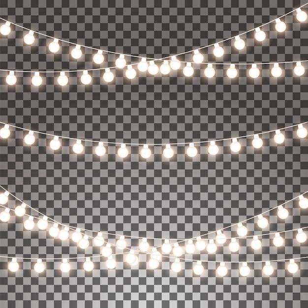 Glühende girlanden eingestellt lokalisiert auf transparentem hintergrund. Premium Vektoren