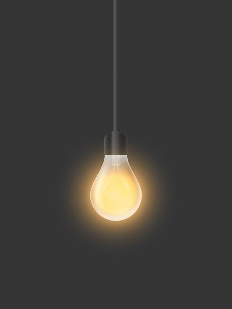Glühende glühbirne des realistischen vektors. das mitgelieferte licht im loftstil. Premium Vektoren