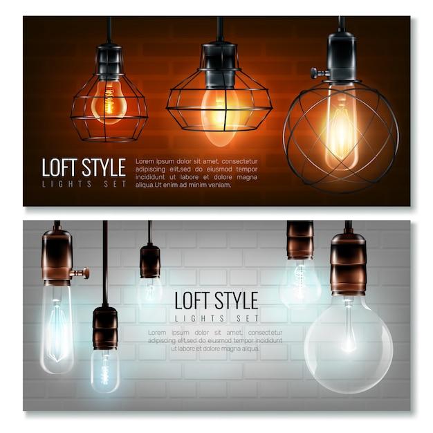 Glühende glühlampen-horizontales fahnenset Kostenlosen Vektoren