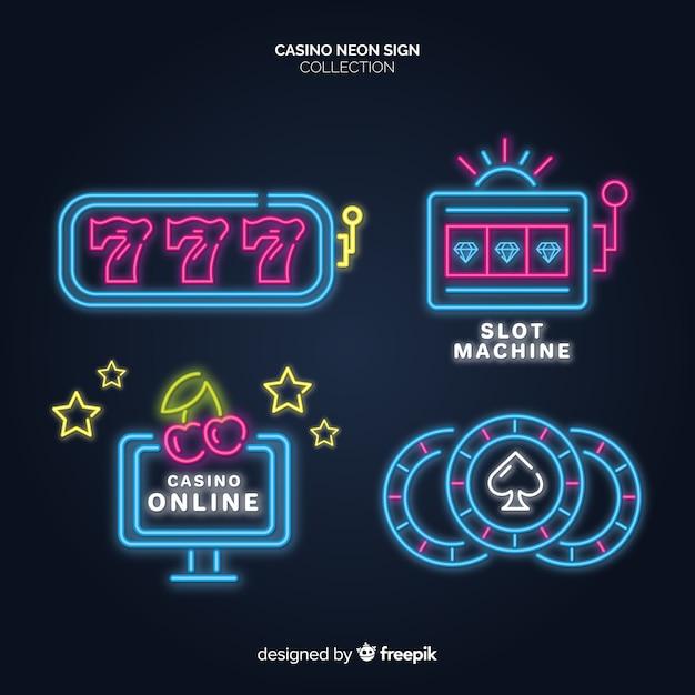 Glühende kasino-neonzeichensammlung Kostenlosen Vektoren